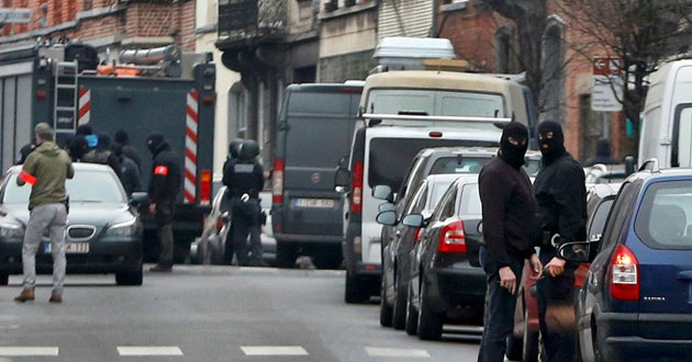 Police at the scene of a security operation in the Brussels
