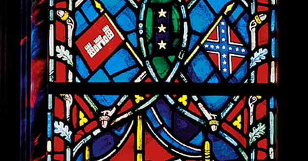 Stained-glass window honoring Confederate General Stonewall Jackson