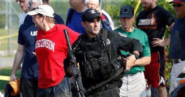 Police investigate a shooting scene