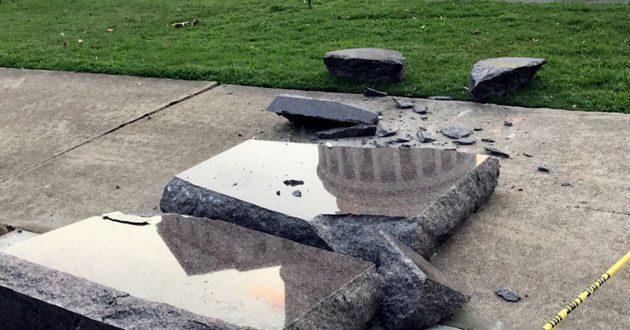 Ten Commandments monument smashed