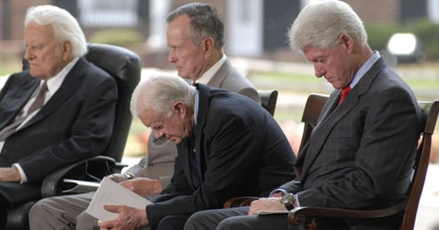 Billy Graham with former Presidents George H.W. Bush, Carter and Clinton