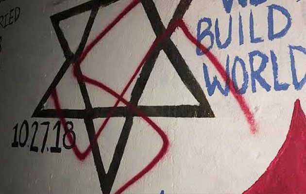 Swastika on Pittsburgh synagogue memorial at Duke University
