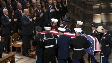 The flag-draped casket of former President George H.W. Bush