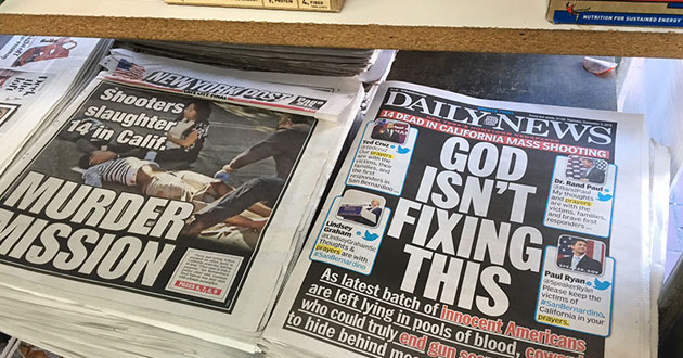 Photo of 'Daily News' expresses contempt for prayer in the Calif. shooting: 'God isn't fixing this'