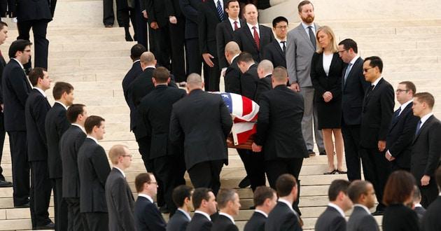 casket of the late U.S. Supreme Court Justice Antonin Scalia