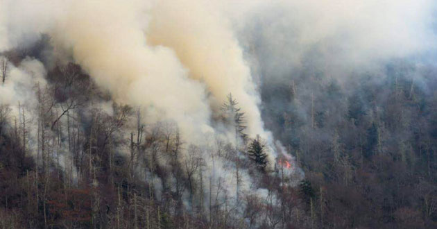 Smoke plumes from wildfires are shown in the Great Smoky Mountains