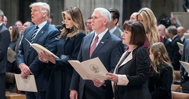 U.S. President Donald Trump sings