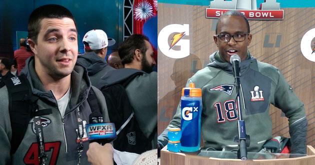 Falcons' long snapper Josh Harris and Patriots' wide receiver Matthew Slater