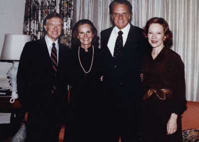 Billy and Ruth Graham (center) meet with President Jimmy Carter and his wife, Rosalynn