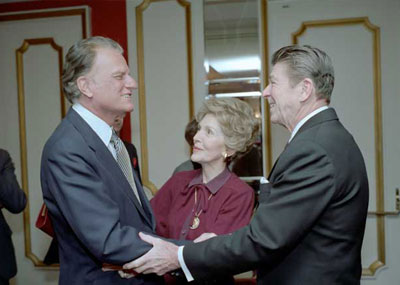 President Reagan and first lady Nancy Reagan greet Billy Graham