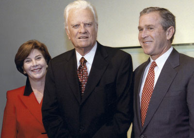 Billy Graham meets with President George W. and First Lady Laura Bush