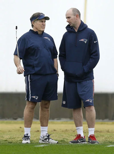 New England Patriots head coach Bill Belichick and Jack Easterby