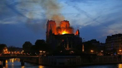 Photo of Notre Dame Cathedral in Paris ravaged by fire